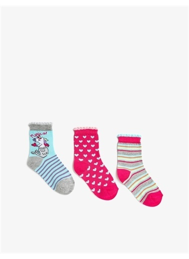 Koton Kiz Çocuk Unicorn Çorap Seti Desenli Çizgili Mavi